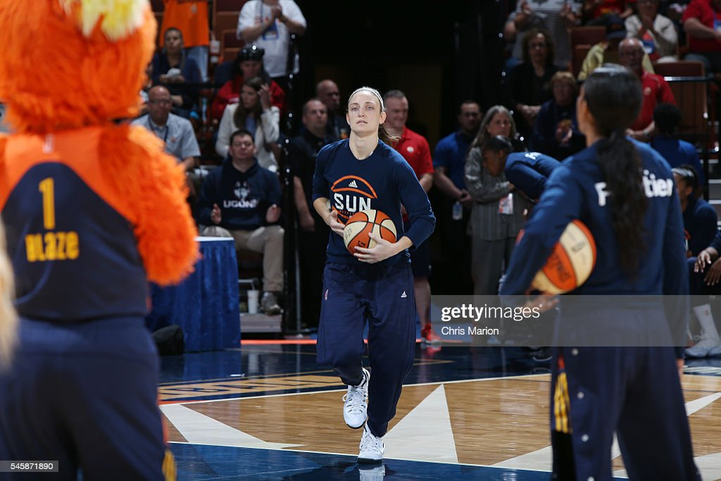Kelly Faris of the Connecticut Sun gets introduced before the game against the Atlanta Dream on July 10 2016 at Mohegan Sun Arena in Uncasville CT...