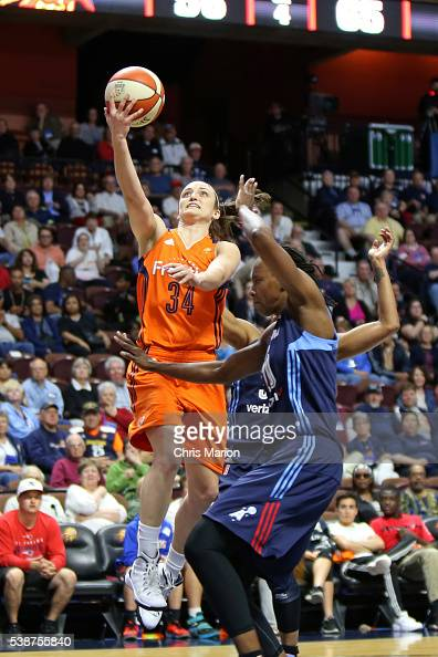 Kelly Faris of the Connecticut Sun goes for the layup against the Atlanta Dream on June 3 2016 at Mohegan Sun Arena in Uncasville CT NOTE TO USER...