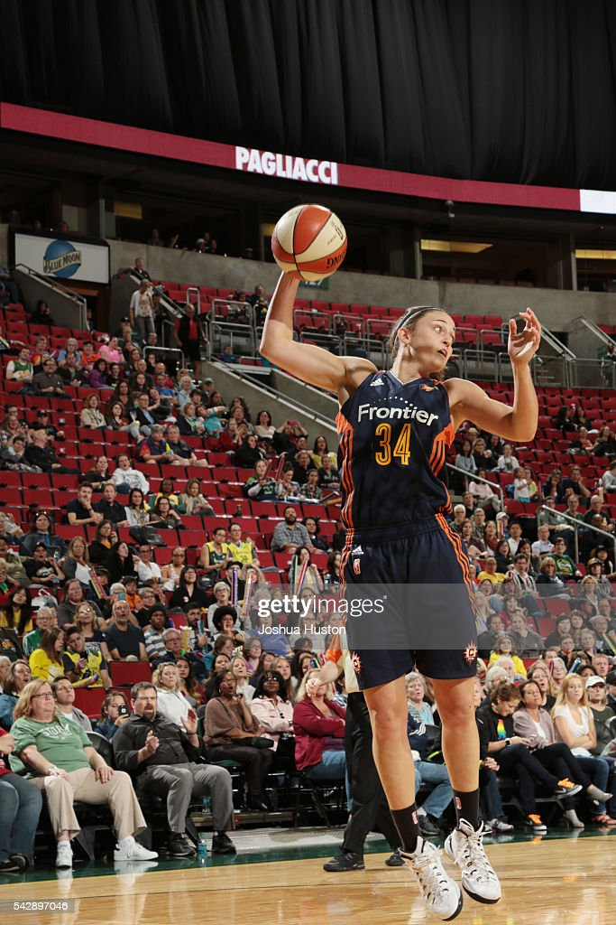Kelly Faris of the Connecticut Sun goes for the layup against the Seattle Storm on June 24 2016 at Key Arena in Seattle Washington NOTE TO USER User...
