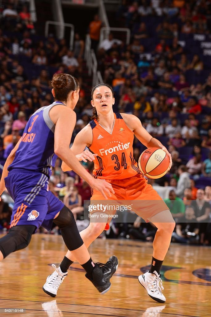 Kelly Faris of the Connecticut Sun handles the ball against the Phoenix Mercury on June 29 2016 at Talking Stick Resort Arena in Phoenix Arizona NOTE...