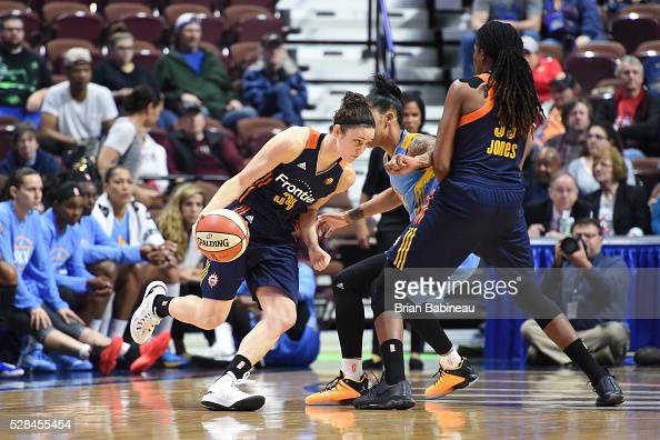 Kelly Faris of the Connecticut Sun handles the ball against the Chicago Sky on May 4 2016 at the Mohegan Sun in Uncasville Connecticut NOTE TO USER...