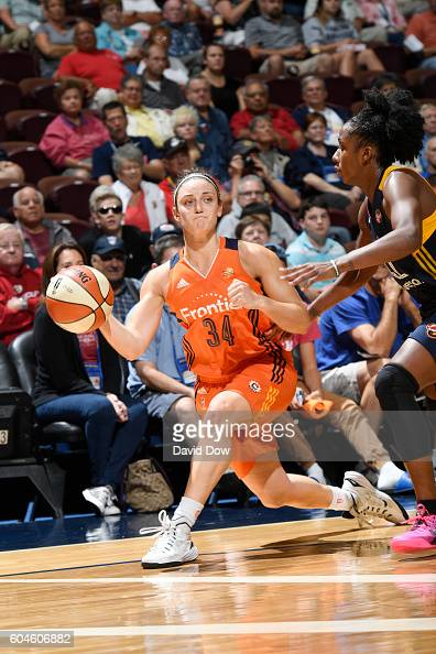 Kelly Faris of the Connecticut Sun passes the ball against the Indiana Fever on September 13 2016 at the Mohegan Sun Arena in Uncasville Connecticut...