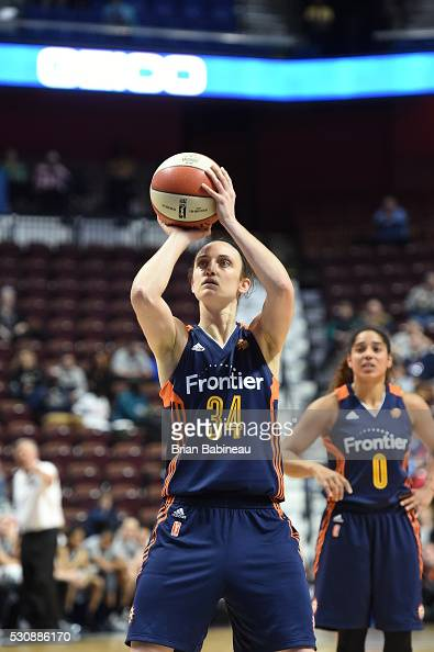 Kelly Faris of the Connecticut Sun prepares to shoot a free throw against the San Antonio Stars on May 5 2016 at the Mohegan Sun in Uncasville...