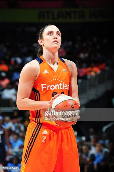 Kelly Faris of the Connecticut Sun prepares to shoot against the Atlanta Dream during the game on June 12 2016 at Philips Arena in Atlanta Georgia...