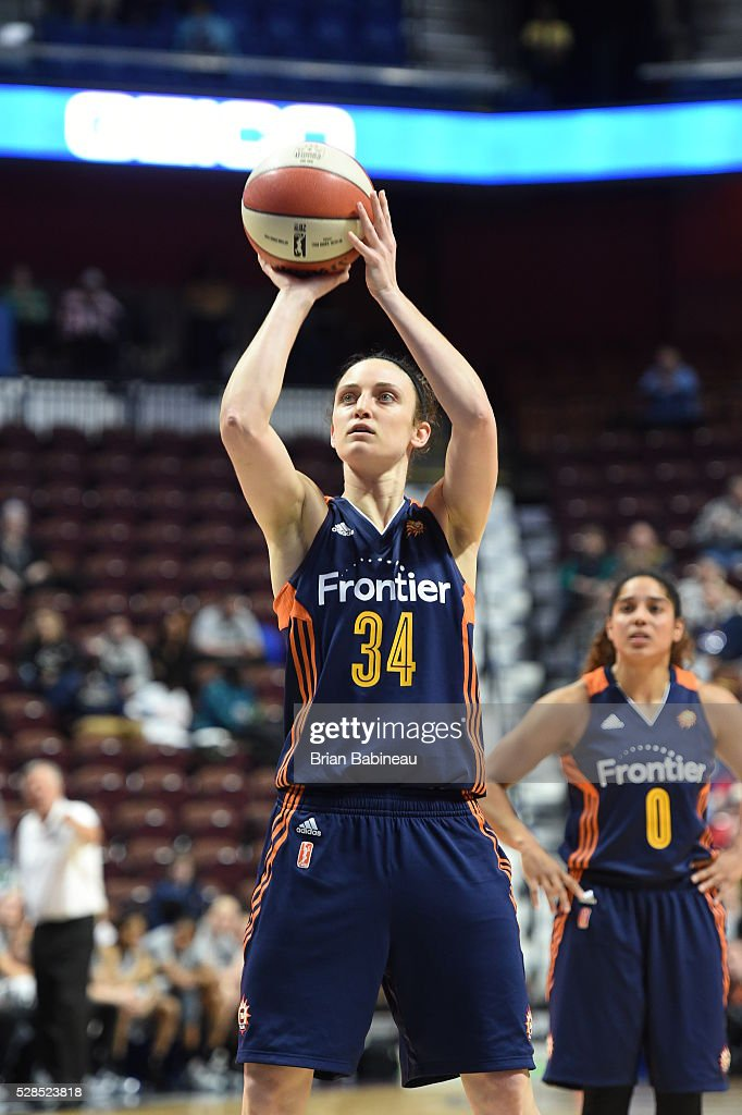 Kelly Faris of the Connecticut Sun shoots a free throw against the San Antonio Stars in a WNBA preseason game on May 5 2016 at the Mohegan Sun Arena...