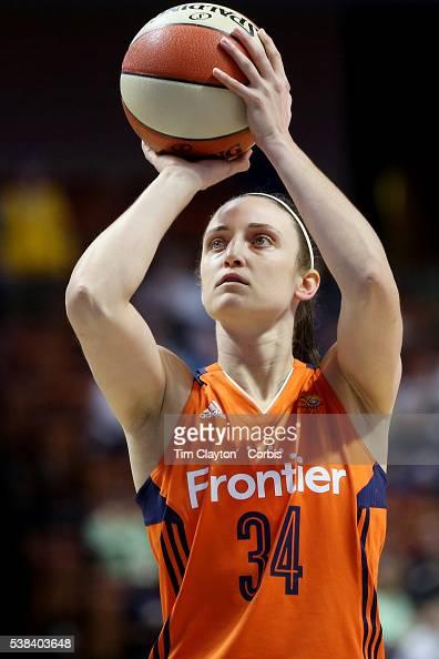 Kelly Faris of the Connecticut Sun shoots a free throw during the Atlanta Dream Vs Connecticut Sun WNBA regular season game at Mohegan Sun Arena on...