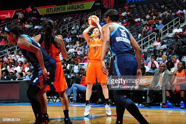 Kelly Faris of the Connecticut Sun shoots against the Atlanta Dream during the game on June 12 2016 at Philips Arena in Atlanta Georgia NOTE TO USER...
