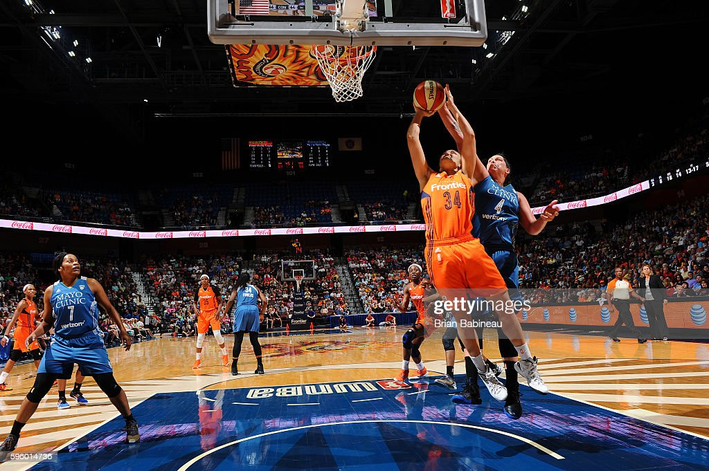 Kelly Faris of the Connecticut Sun shoots the ball against the Minnesota Lynx on August 26 2016 at the Mohegan Sun Arena in Uncasville Connecticut...
