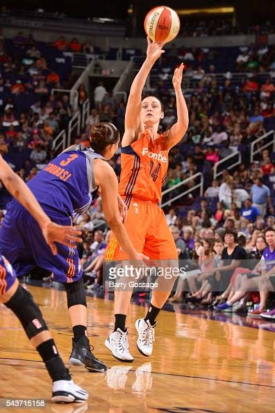 Kelly Faris of the Connecticut Sun shoots the ball against the Phoenix Mercury on June 29 2016 at Talking Stick Resort Arena in Phoenix Arizona NOTE...