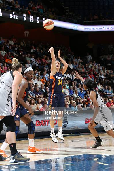Kelly Faris of the Connecticut Sun shoots the ball against the San Antonio Stars on August 30 2016 at the Mohegan Sun Arena in Uncasville Connecticut...
