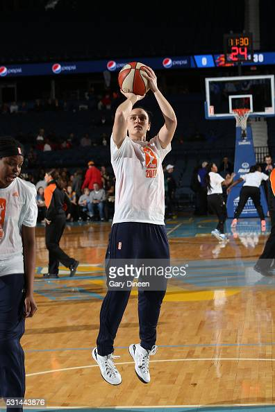 Kelly Faris of the Connecticut Sun warms up before the game against the Chicago Sky on May 14 2016 at the Allstate Arena in Rosemont Illinois NOTE TO...