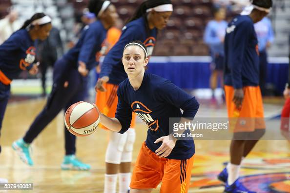 Kelly Faris of the Connecticut Sun warms up before the game against the Atlanta Dream on June 3 2016 at Mohegan Sun Arena in Uncasville CT NOTE TO...