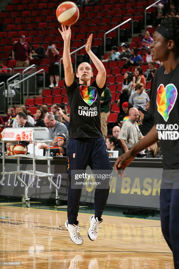 Kelly Faris of the Connecticut Sun warms up before the game against the Seattle Storm on June 24 2016 at Key Arena in Seattle Washington NOTE TO USER...