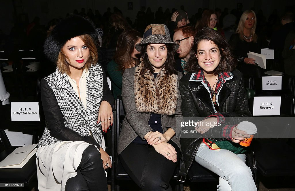 Kelly Framel, Stella Bugbee and <a gi-track='captionPersonalityLinkClicked' href=/galleries/search?phrase=Leandra+Medine&family=editorial&specificpeople=7491795 ng-click='$event.stopPropagation()'>Leandra Medine</a> attend Rebecca Taylor during Fall 2013 Mercedes-Benz Fashion Week at Highline Stages on February 9, 2013 in New York City.