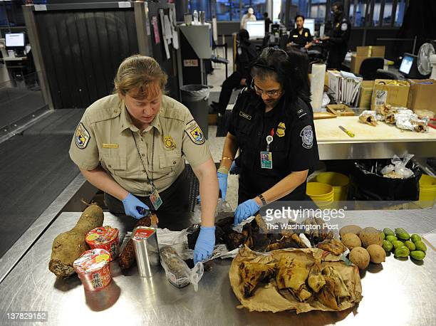Kelly French L a Fish and Wildlife officer and Prabasini Tripathy with US Customs and Border Protection open packages of bush meat and dry cow skin...