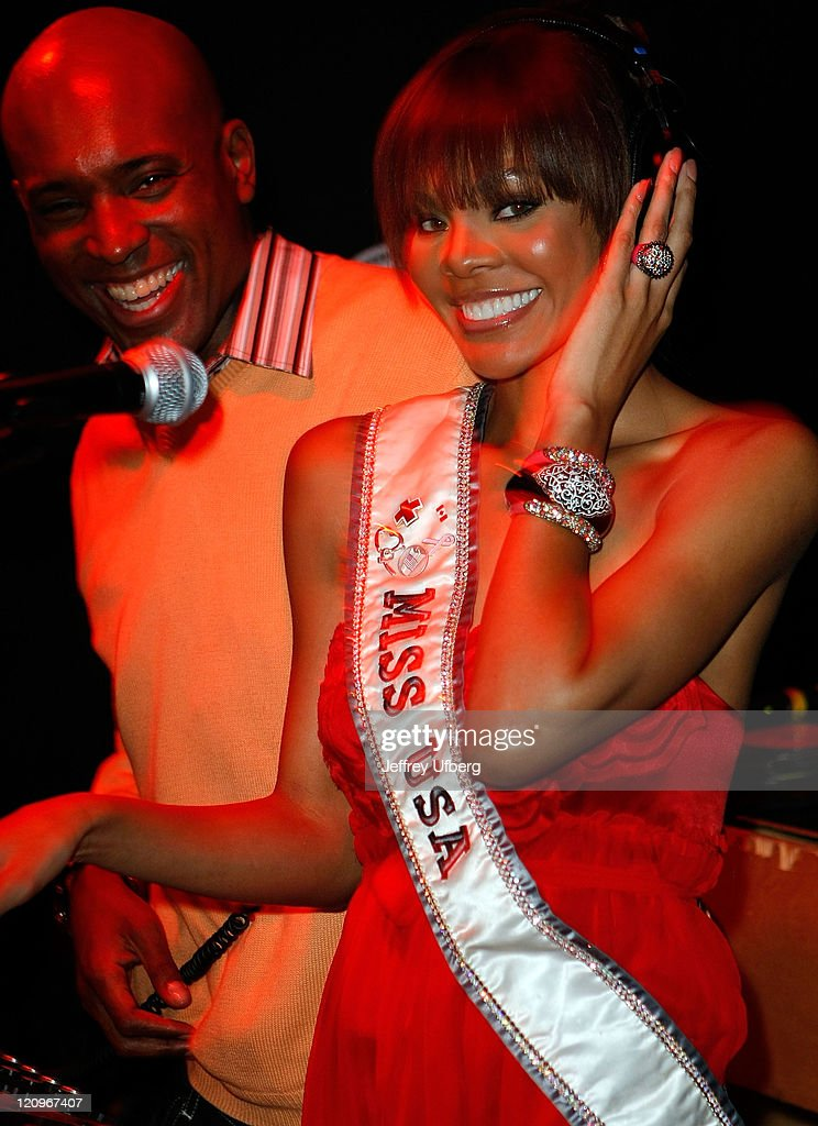 DJ Kelly G and Miss USA Crystle Stewart attend the ProjectOVC Halloween Masquerade Ball and fundraiser at The Imperial on October 29 2008 in New York...