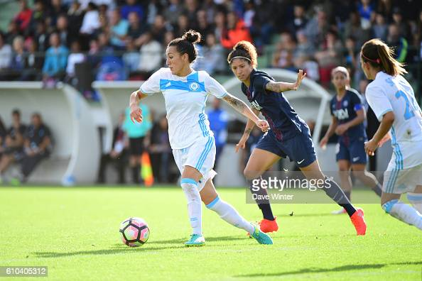 Kelly Gadea of Marseille and Christine Rozeira of PSG during the women's French D1 league match between PSG and Olympique de Marseille at Camp des...