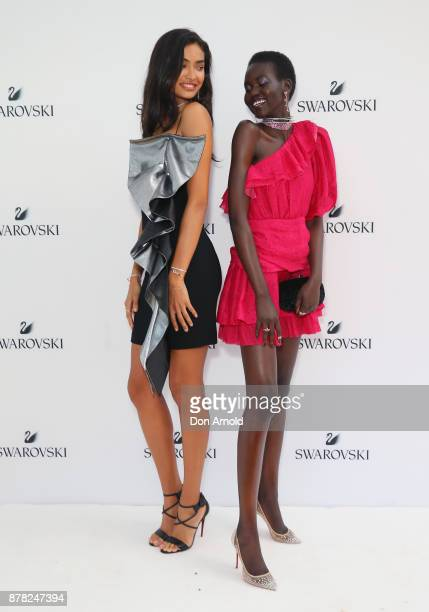 Kelly Gale and Adut Akech attend the Swarovski Rainbow Paradise Spring Summer 18 Collection Launch on November 24 2017 in Sydney Australia