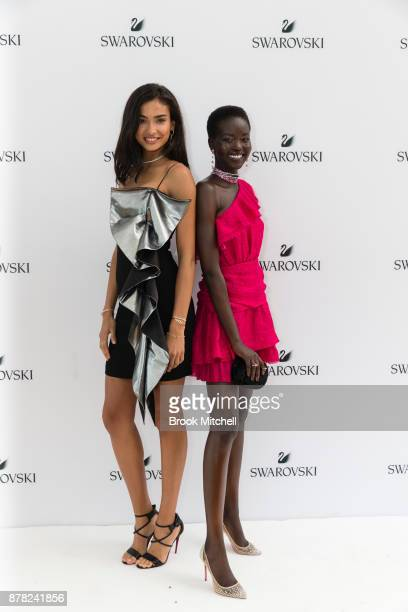 Kelly Gale and Adut Akech attends the Swarovski Rainbow Paradise Spring Summer 18 Collection Launch on November 24 2017 in Sydney Australia