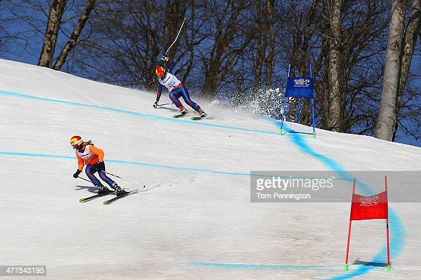 Kelly Gallagher of Great Britain and guide Charlotte Evans in the Women's SuperG Visually Impaired during day three of Sochi 2014 Paralympic Winter...