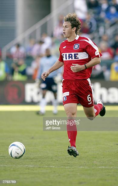 Kelly Gray of the Chicago Fire advances the ball on the wing against the San Jose Earthquakes during the MLS Cup on November 23 2003 at the The Home...