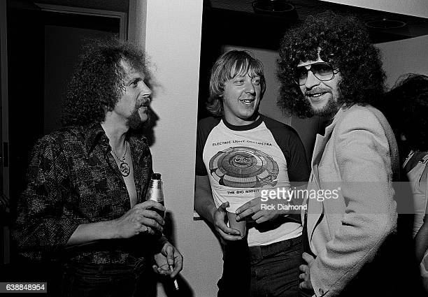 Kelly Groucutt of ELO guest and Jeff Lynne of ELO attend press reception at the Peachtree Plaza in Atlanta Georgia July 06 1978