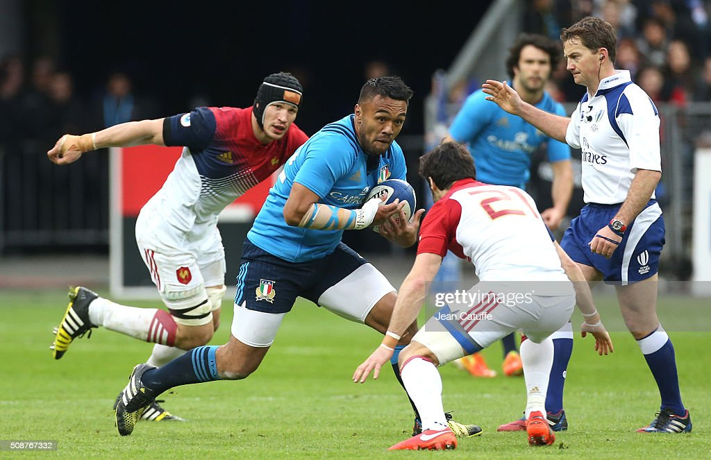 Kelly Haimona of Italy in action during the RBS 6 Nations match between France and Italy at Stade de France on February 6, 2016 in Saint-Denis nearby Paris, France.