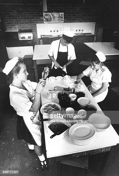 Kelly Healy justin Dale and Jeannine Brazel in a creative cooking class at Beacon Hill High School 11 April 1990 SMH Picture by MICHELE MOSSOP