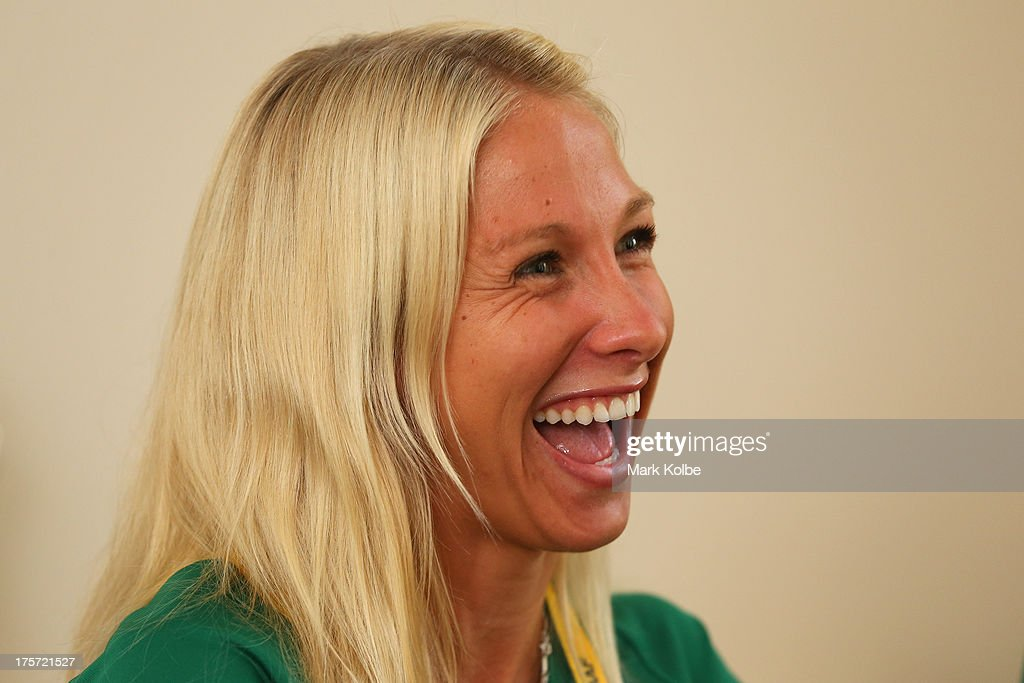 Kelly Hetherington of Australia laughs as she speaks to the media during the Team Australia media day at Crown Plaza World Trade Centre on August 7, 2013 in Moscow, Russia.