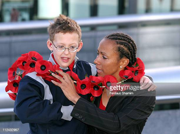 Kelly Holmes and Colin Antink during 2004 Poppy Appeal Goes for Gold With Olympic Gold Medallist and ExServicewoman Kelly Holmes at City Hall in...