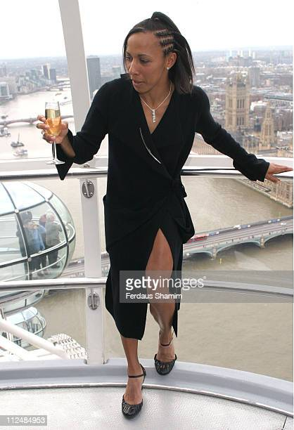 Kelly Holmes during Kelly Holmes Helps Celebrate The London Eye's 5th Anniversary at The London Eye in London Great Britain
