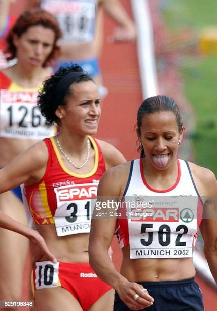 Kelly Holmes of Great Britain at the end of her 1500m qualifying race at the European Athletics Championships in Munich following her third place in...