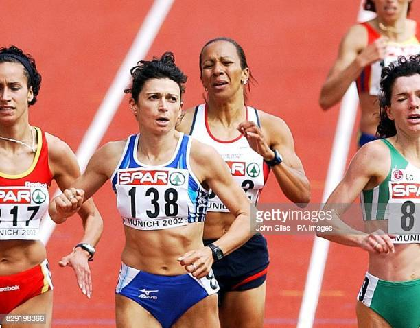 Kelly Holmes of Great Britain at the end of her 1500m qualifying race Friday August 9 at the European Athletics Championships in Munich following her...