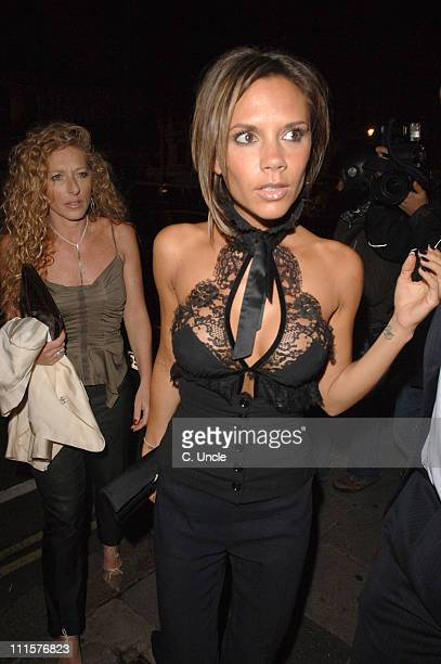 Kelly Hoppen and Victoria Beckham during Victoria Beckham Sighting at Nobu August 22 2006 at Nobu in London Great Britain