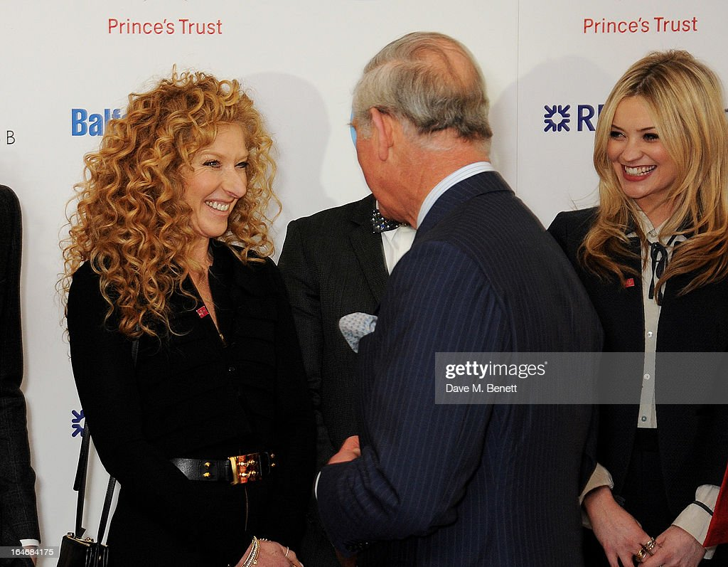 Kelly Hoppen, HRH Prince Charles, Prince of Wales and Laura Whitmore attend The Prince's Trust & Samsung Celebrate Success Awards at Odeon Leicester Square on March 26, 2013 in London, England.