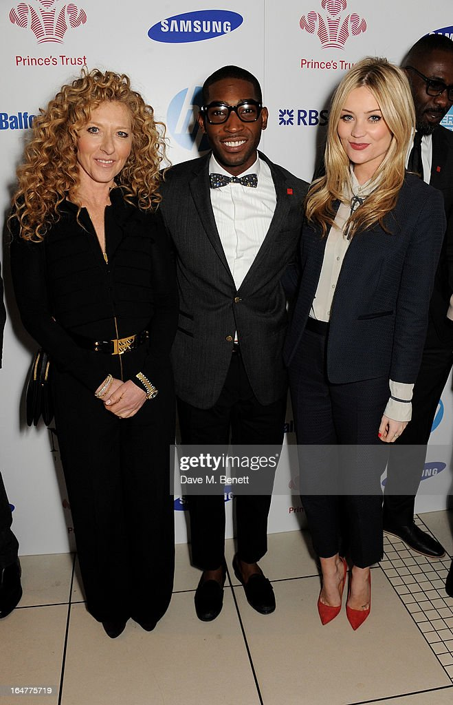 Kelly Hoppen, Tinie Tempah and Laura Whitmore attend The Prince's Trust & Samsung Celebrate Success Awards at Odeon Leicester Square on March 26, 2013 in London, England.