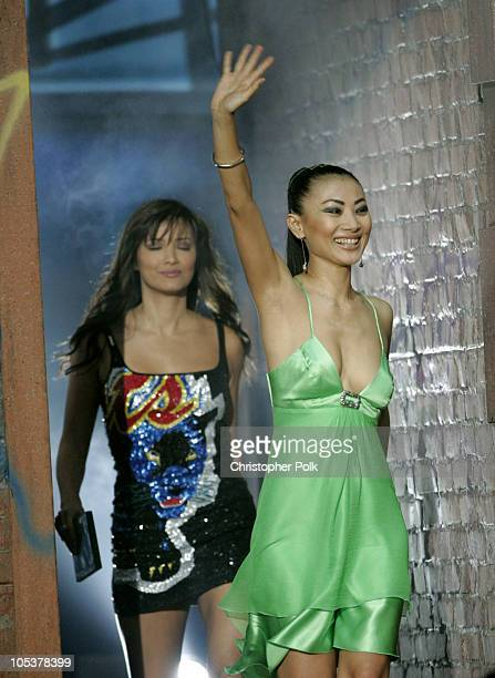 Kelly Hu and Bai Ling during Spike TV's 2nd Annual 'Video Game Awards 2004' Show Hosted by Snoop Dogg at Barker Hangar in Santa Monica California...