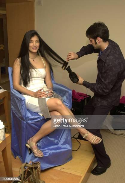 Kelly Hu and hairstylist Kyle Plishtiyev at the ChanelFrederic Fekkai suite