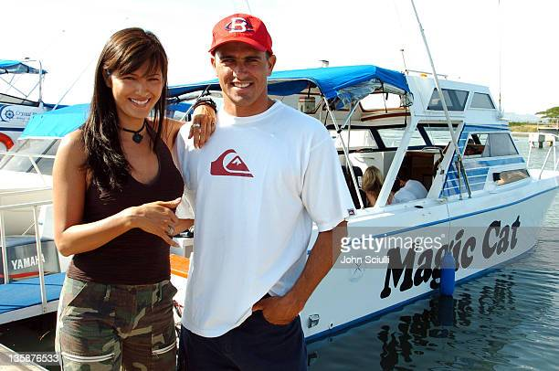 Kelly Hu and Kelly Slater during Kelly Slater Invitational Fiji Day 2 Mome Village Tour in Mome Village Tavarua Island Fiji