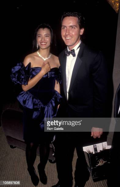 Kelly Hu and Ramone Estevez during National Council on Aging Gala February 28 1991 at Beverly Hilton Hotel in Los Angeles California United States