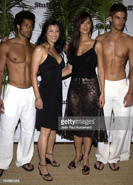 Kelly Hu Catherine Bell during Stuff Magazine Armani Exchange 'Beachdance' Party Arrivals at Astra West in West Hollywood California United States