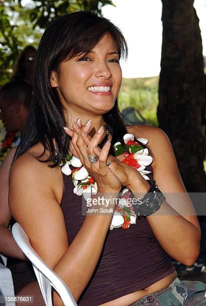 Kelly Hu during Kelly Slater Invitational Fiji Day 2 Mome Village Tour in Mome Village Tavarua Island Fiji