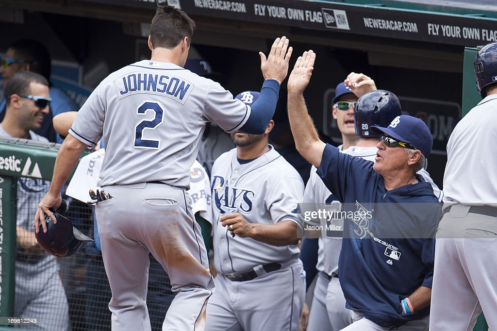 Kelly Johnson #2 celebrates with <a gi-track='captionPersonalityLinkClicked' href=/galleries/search?phrase=Joe+Maddon&family=editorial&specificpeople=568433 ng-click='$event.stopPropagation()'>Joe Maddon</a> #70 of the Tampa Bay Rays after scoring on a double hit by James Loney #21 during the first inning against the Cleveland Indians at Progressive Field on June 2, 2013 in Cleveland, Ohio.