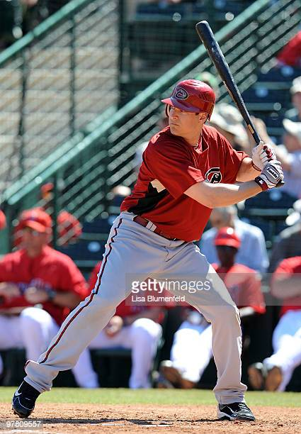 Kelly Johnson of the Arizona Diamondbacks bats during a spring training game against the Los Angeles Angels of Anaheim on March 17 2010 at Tempe...