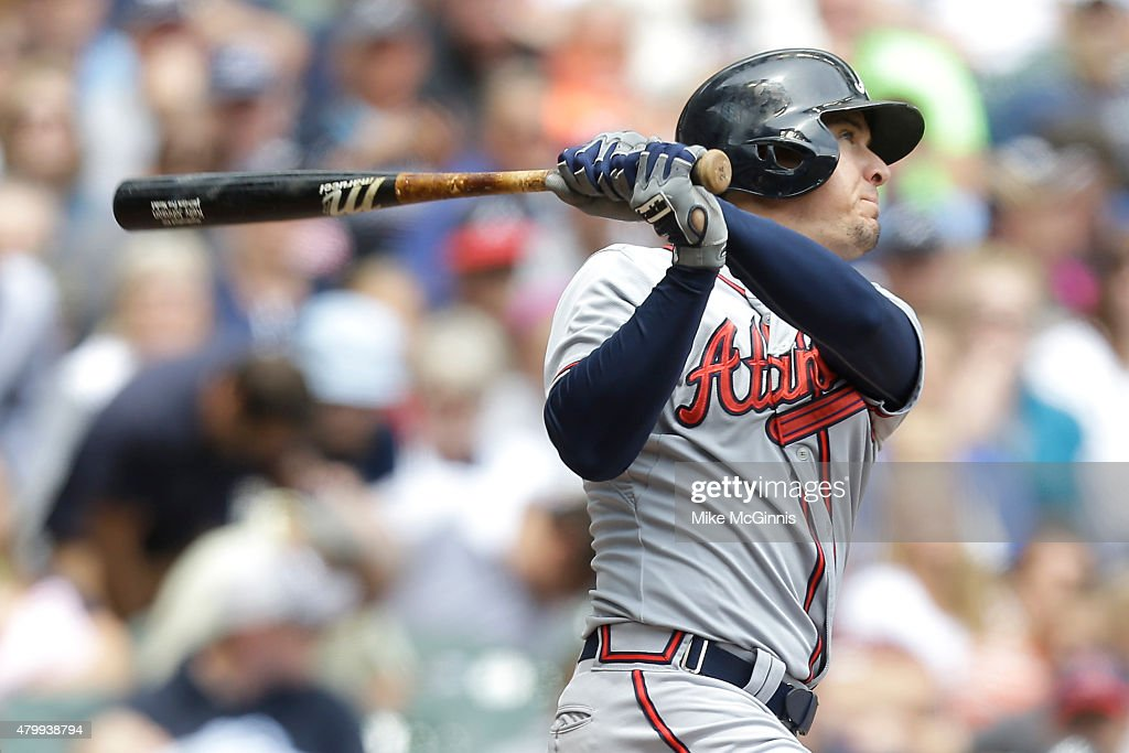 Kelly Johnson #24 of the Atlanta Braves hits a solo home run in the third inning against the Milwaukee Brewers at Miller Park on July 08, 2015 in Milwaukee, Wisconsin.