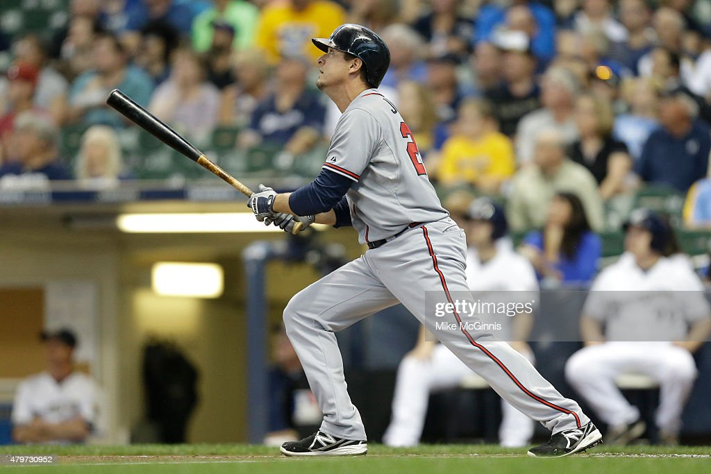 Kelly Johnson #24 of the Atlanta Braves hits a two run homer in the first inning against the Milwaukee Brewers at Miller Park on July 06, 2015 in Milwaukee, Wisconsin.