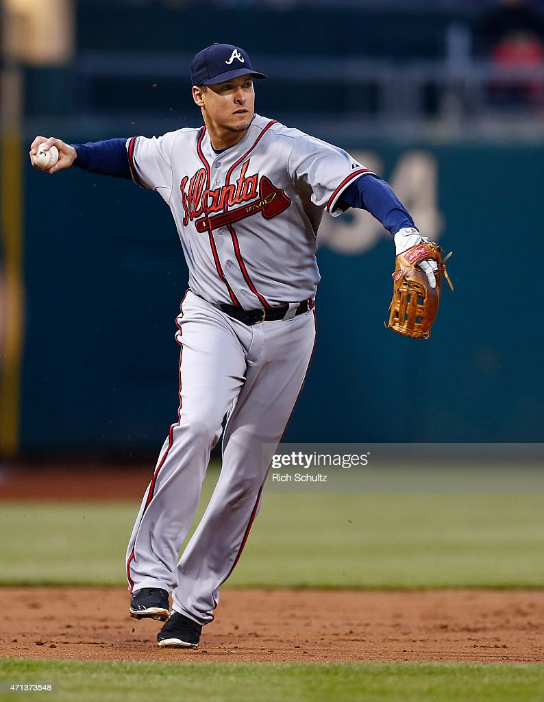 Kelly Johnson #24 of the Atlanta Braves throws to first base against the Philadelphia Phillies in a game at Citizens Bank Park on April 24, 2015 in Philadelphia, Pennsylvania.