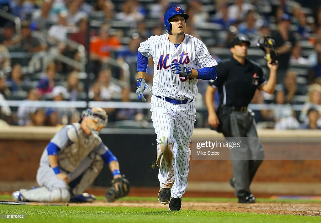 Kelly Johnson #55 of the New York Mets connects on a solo home run in the fifth inning against the Los Angeles Dodgers at Citi Field on July 25, 2015 in Flushing neighborhood of the Queens borough of New York City.