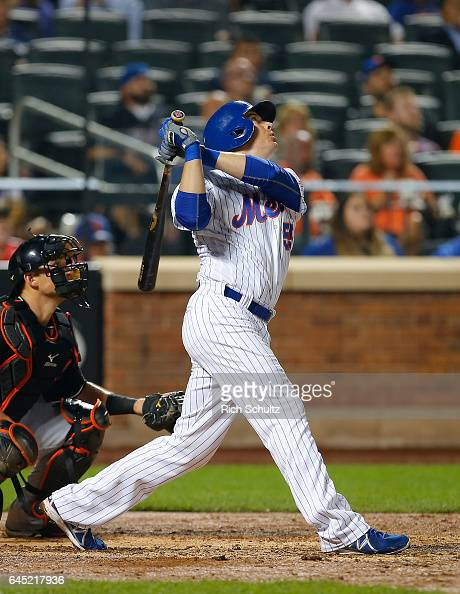 Kelly Johnson of the New York Mets in action against the Miami Marlins during a game at Citi Field on September 1 2016 in the Flushing neighborhood...