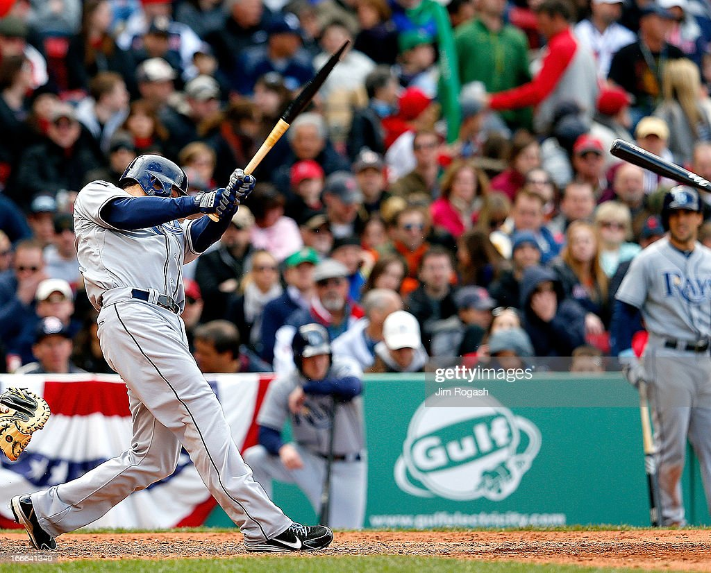 Kelly Johnson #2 of the Tampa Bay Rays breaks a bat as he singles off of Clay Buchholz #11 of the Boston Red Sox in the eighth to break up a no hitter at Fenway Park on April 14, 2013 in Boston, Massachusetts.